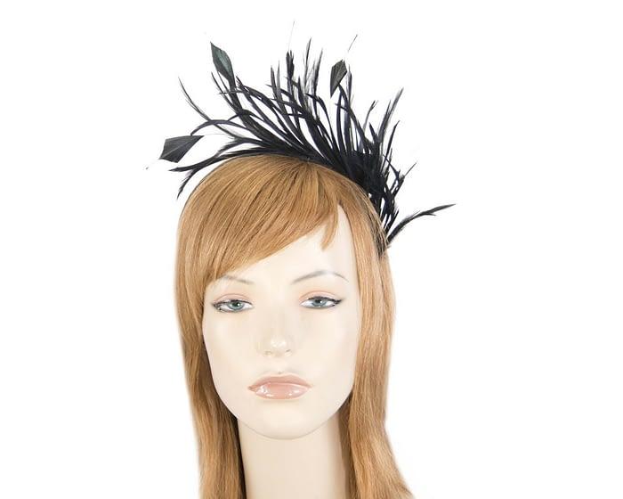 Fascinators Online - Black feather fascinator headband by Max Alexander 1