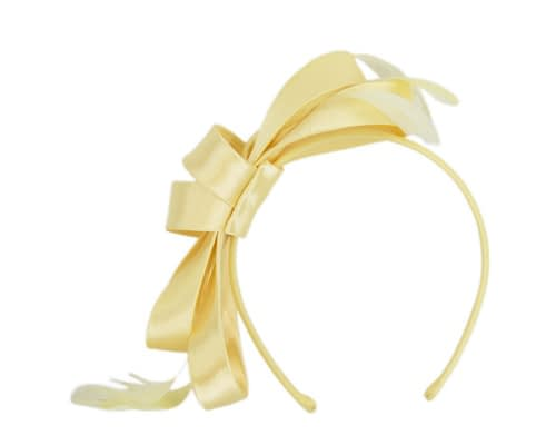 Fascinators Online - Yellow satin bow racing fascinator with feathers by Max Alexander 2