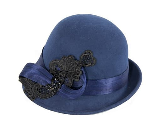 Fascinators Online - Navy autumn & winter fashion felt cloche hat by Fillies Collection 2