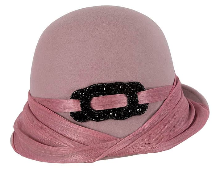 Fascinators Online - Fashion dusty pink felt cloche hat by Fillies Collection 4
