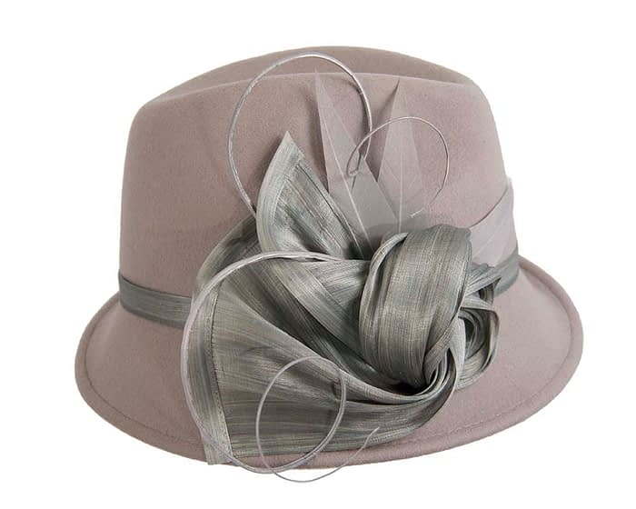 Fascinators Online - Exclusive grey felt trilby hat by Fillies Collection 3