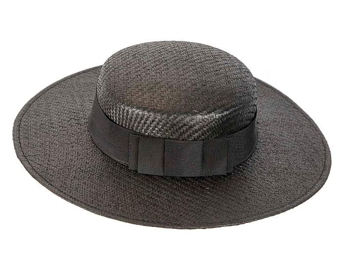 Fascinators Online - Black boater hat by Max Alexander 4