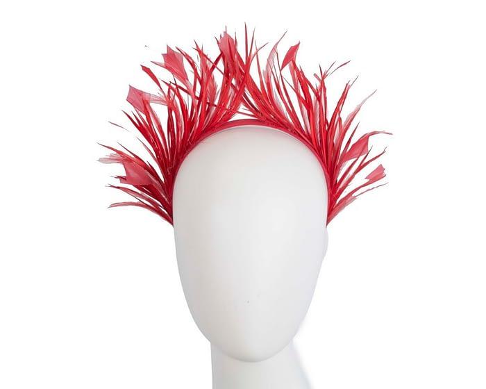 Fascinators Online - Red feather crown racing fascinator by Max Alexander 1