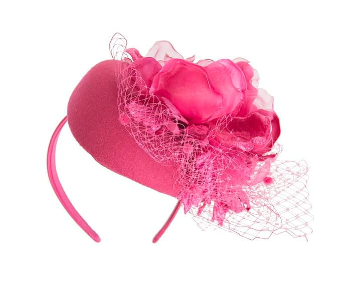 Fascinators Online - Fuchsia pillbox fascinator with flower by Fillies Collection 4