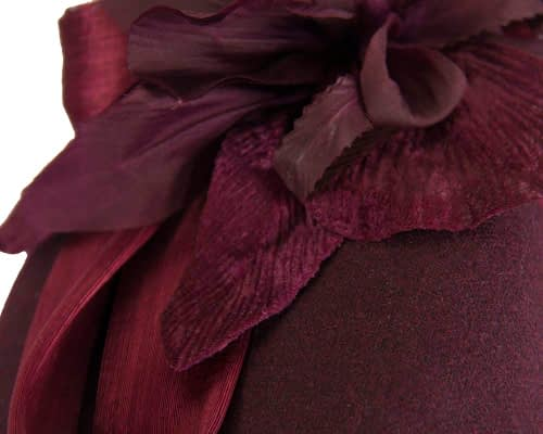 Fascinators Online - Tall burgundy felt pillbox with flower by Fillies Collection 5