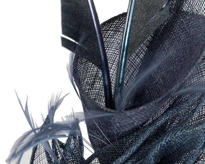 Fascinators Online - Navy racing fascinator with feathers by Max Alexander 3