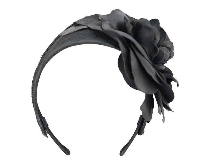 Fascinators Online - Black leather flower headband fascinator by Max Alexander 2