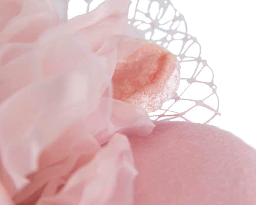 Fascinators Online - Pink pillbox fascinator with flower by Fillies Collection 3