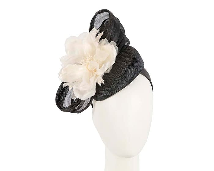 Fascinators Online - Black & Cream pillbox fascinator with large flower by Fillies Collection 1