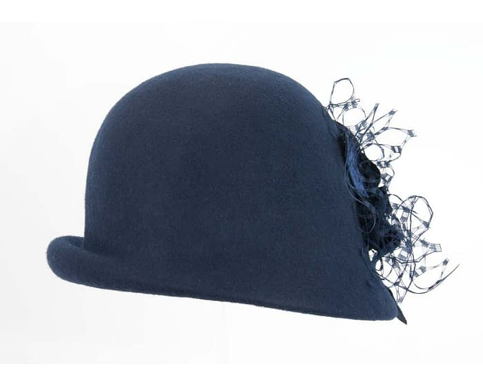 Navy cloche winter felt hat