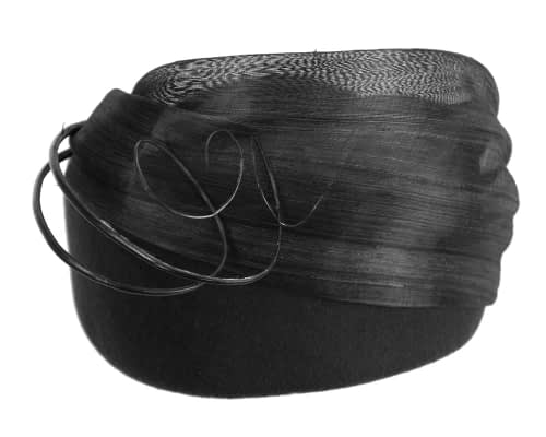 Fascinators Online - Black felt ladies fashion beret hat with feather by Fillies Collection 5