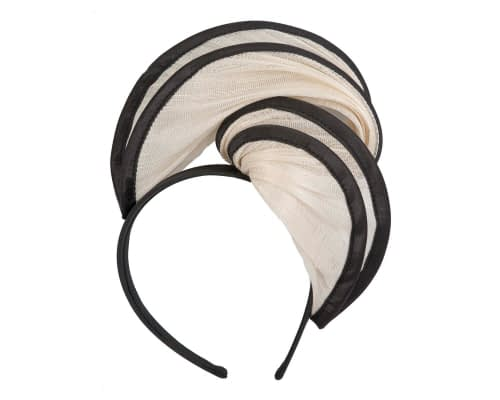 Fascinators Online - Cream & black headband racing fascinator by Fillies Collection 2