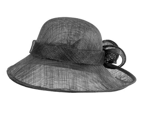 Fascinators Online - Wide brim black sinamay racing hat by Max Alexander 4
