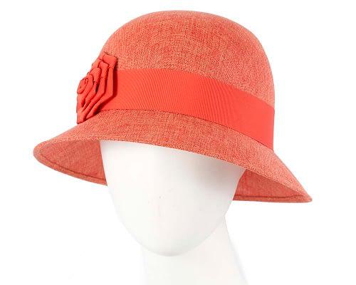 Fascinators Online - Orange spring racing bucket hat 7