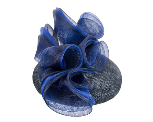 Fascinators Online - Navy & royal blue pillbox racing fascinator with wave by Fillies Collection 4