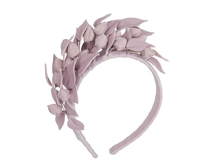 Fascinators Online - Lilac leather hand-made racing fascinator by Max Alexander 2