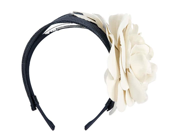 Fascinators Online - Navy cream leather flower headband fascinator by Max Alexander 2