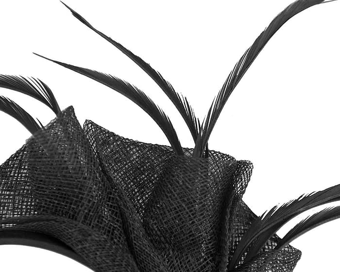 Fascinators Online - Petite black sinamay fascinator with feathers by Max Alexander 3