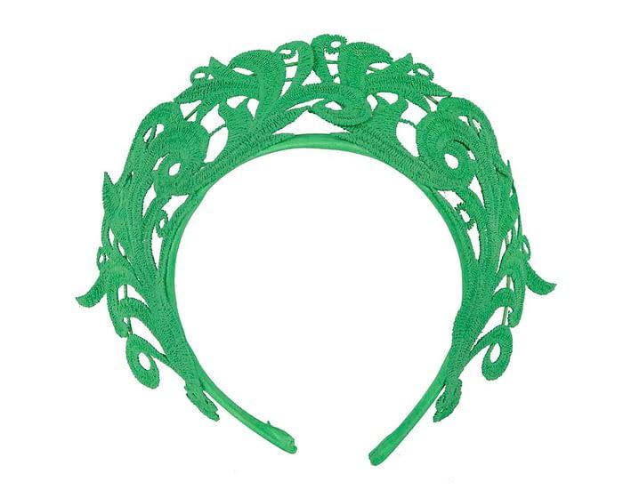 Fascinators Online - Green lace crown racing fascinator by Max Alexander 2