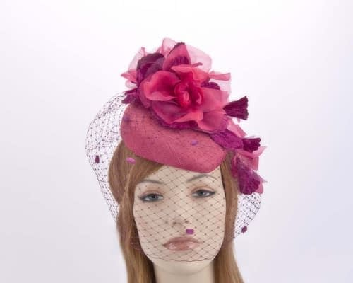 Fuchsia pillbox with face veiling