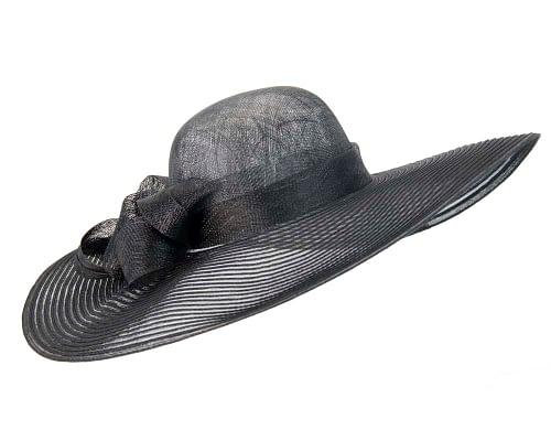 Fascinators Online - Wide brim black fashion hat by Max Alexander 2