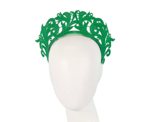 Fascinators Online - Green lace crown racing fascinator by Max Alexander 2