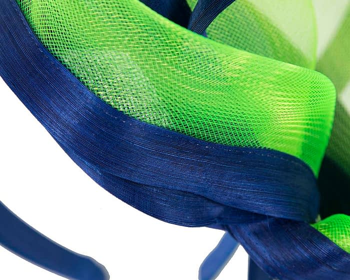 Fascinators Online - Edgy royal blue & lime fascinator by Fillies Collection 4