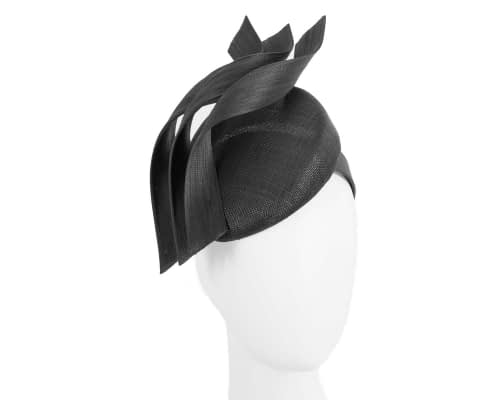 Fascinators Online - Black pillbox racing fascinator with jinsin trim by Fillies Collection 1