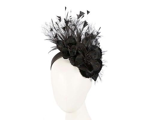 Fascinators Online - Black flower & feathers racing fascinator 32