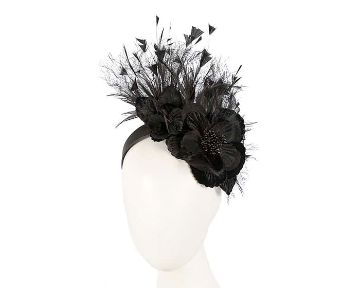 Fascinators Online - Black flower & feathers racing fascinator 1