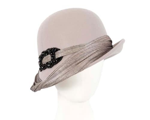 Fascinators Online - Fashion silver grey felt cloche hat by Fillies Collection 4
