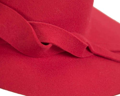 Fascinators Online - Unusual red felt wide brim hat by Max Alexander 5
