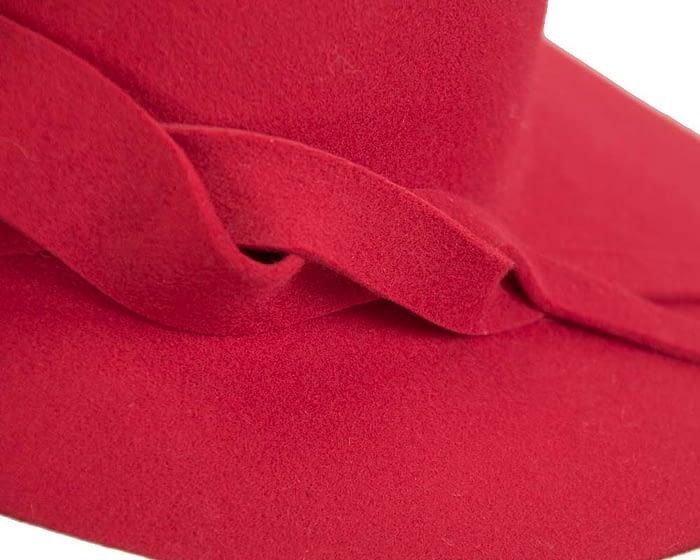 Fascinators Online - Unusual red felt wide brim hat by Max Alexander 5