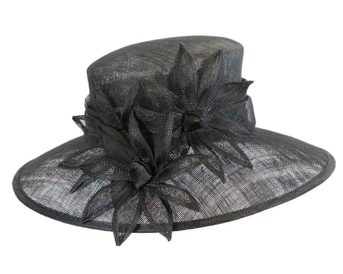 Fascinators Online - Large traditional black racing hat by Max Alexander 4