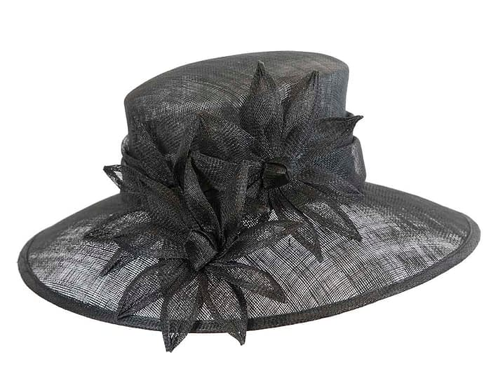 Fascinators Online - Large traditional black racing hat by Max Alexander 4