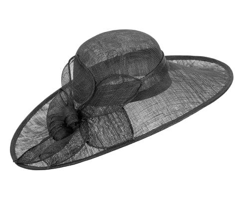Fascinators Online - Large black fashion hat by Max Alexander 2