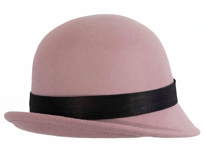 Fascinators Online - Exclusive dusty pink felt cloche hat with lace by Fillies Collection 3