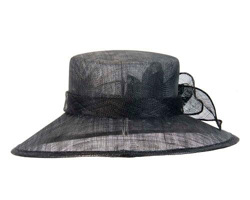 Fascinators Online - Wide brim black sinamay fashion hat by Max Alexander 4