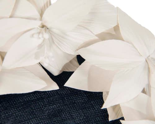 Fascinators Online - Navy & cream leather flower pillbox fascinator by Fillies Collection 5