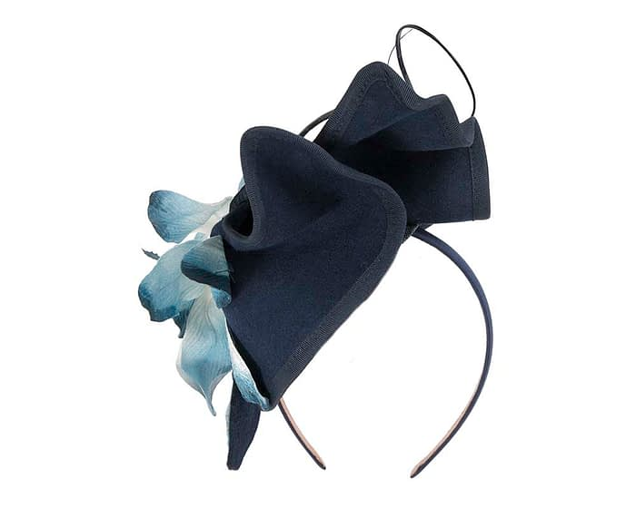 Fascinators Online - Navy and Cream winter felt fascinator by Fillies Collection 5