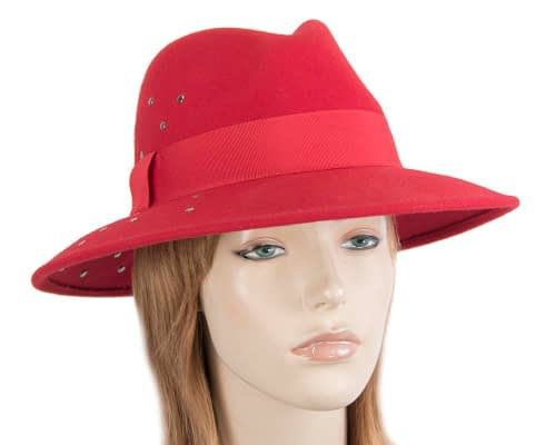 Fascinators Online - Wide brim red felt fedora hat by Max Alexander 21