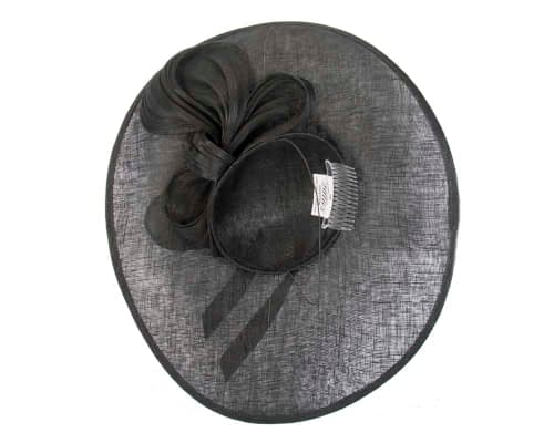Fascinators Online - Large black fascinator hat with bow 4