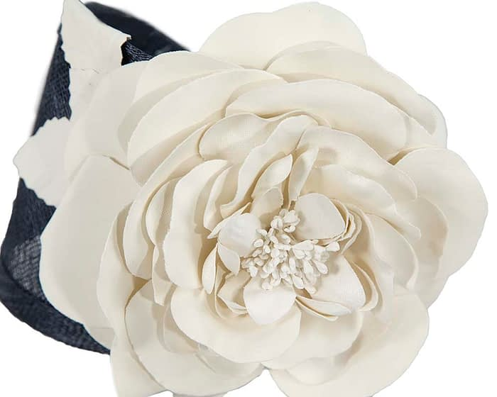 Fascinators Online - Navy cream leather flower headband fascinator by Max Alexander 3