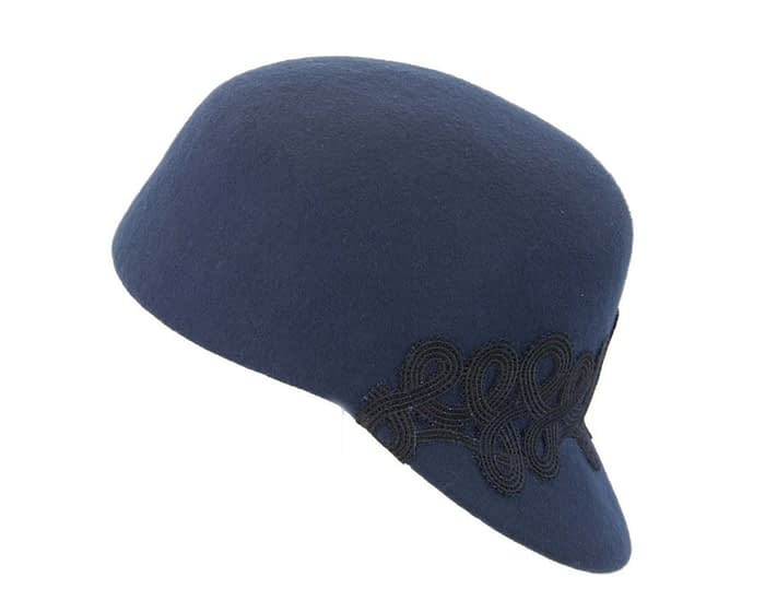 Fascinators Online - Navy felt ladies cap with lace 2