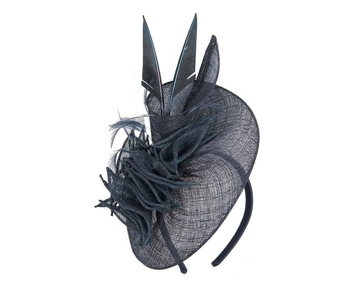 Fascinators Online - Navy racing fascinator with feathers by Max Alexander 2