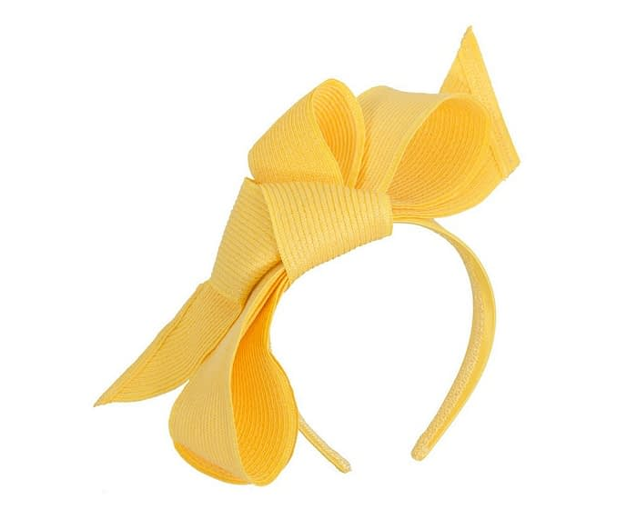 Fascinators Online - Large yellow bow fascinator by Max Alexander 2