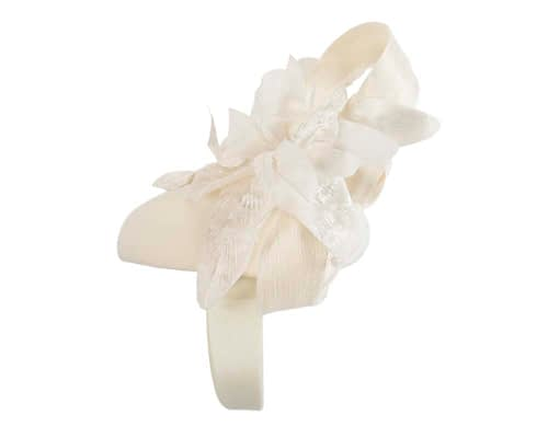 Fascinators Online - Tall cream felt pillbox with flower by Fillies Collection 3