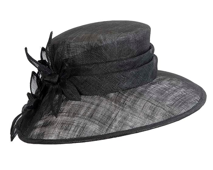 Fascinators Online - Large traditional black racing hat by Max Alexander 2