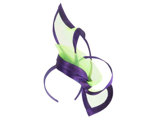 Fascinators Online - Edgy purple & lime fascinator by Fillies Collection 2