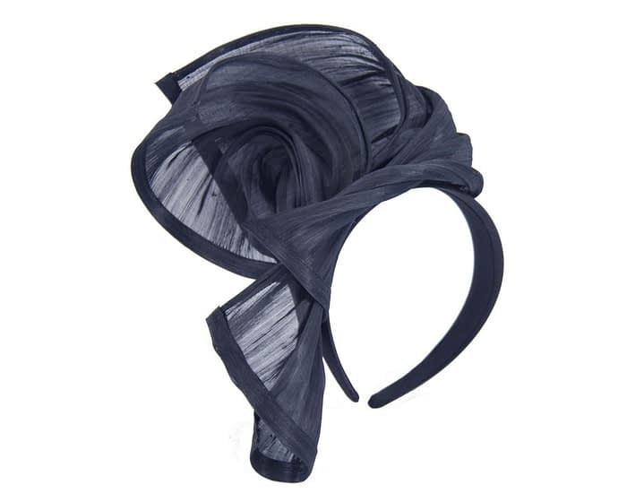 Fascinators Online - Navy twists of silk abaca fascinator by Fillies Collection 2